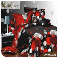 Jessy Home Design Elegant Flower Printing Bed Linens 3D Bedding Set/Duvet Cover/Bedsheet/Pillowcase Pink Flower Red Heart