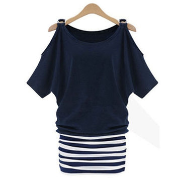 Women Sexy Striped Bodycon  Batwing Sleeve Casual Evening Cotton Cocktail Party Mini Dress Summer Dress = 1946058628