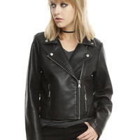 Black Faux Leather Girls Motorcycle Jacket