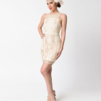 1920s Beige & Gold Beaded Sequin Sleeveless Short Flapper Dress