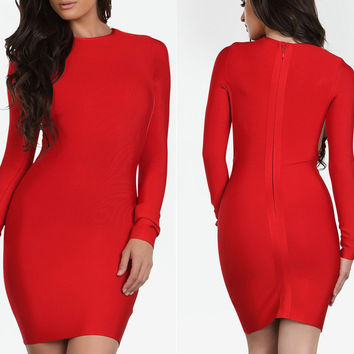 Women's Fashion Sexy Hollow Out Long Sleeve Bandages Dress [4919745924]