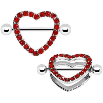 "14 Gauge 3/4"" Red Gem Hearts Aplenty Nipple Shield Set"