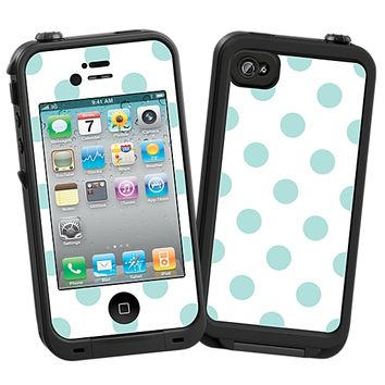 Mint Polka Dot on White Skin  for the iPhone 4/4S Lifeproof Case by skinzy.com