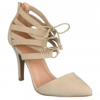 Brinley Co. Womens Strappy Lace-up Heels - Shoes - MyFashionCorner