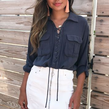 Viktoria Lace Up Navy Top