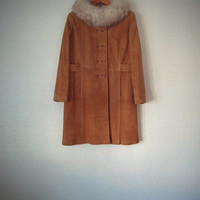 Vintage 60's Suede Coat Dayton's Tan Leather Outerwear with Fur Collar