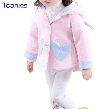 Babies Jacket 2018 Winter Girl Clothes Cute Hooded Infants Girls Coats Casual Kids Outfit Thick Cotton Newborns Jackets Hot Sale