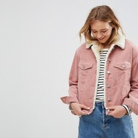 ASOS Cord Jacket With Borg Collar in Washed Pink at asos.com