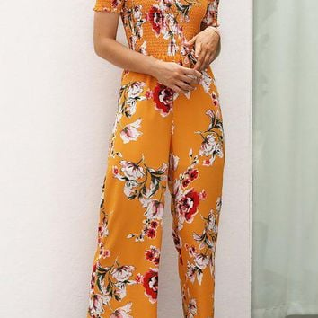 A  Chicoth Off Shoulder Holiday Floral Shirred Jumpsuit