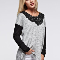 Lace Collar Color Block Top - Heather Grey