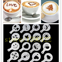 16pcs Coffee Latte Cappuccino Barista Art Stencils / Cake Duster Templates Coffee Tools Template Strew Flowers Pad Duster Spray