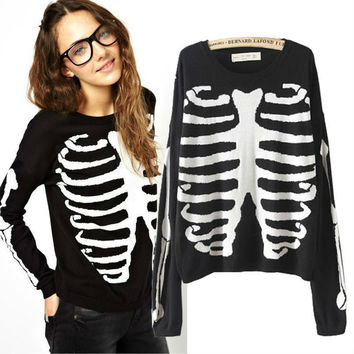 Novelty Skull Printed Knitted Sweater Autumn Women Sweaters and Pullovers Plus Size New 2014 vestidos femininos Free Shipping