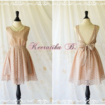 A Party V Shape Cocktail Prom Dress Pinkish Cream Lace Dress Brown Thread Prom Dress Backless Dress Party Dress Bridesmaid Dress Custom Made