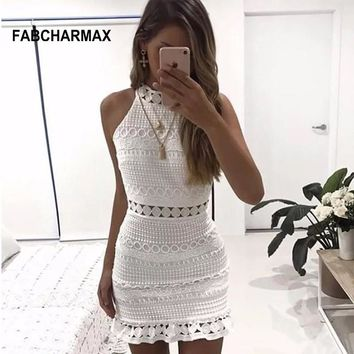 hollow out patterns white lace crochet elegant short dress cut out sleeveless dress