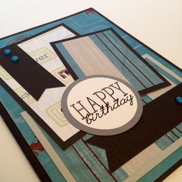 Handmade card, happy birthday, masculine paper, gray and blue, metal brads, designer paper, birthday card, greeting card