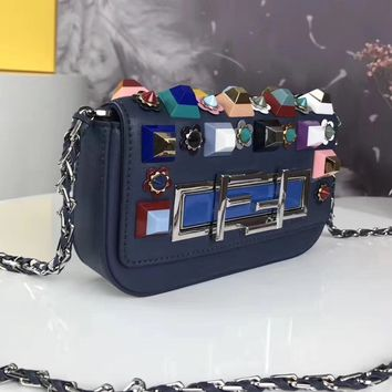 Fendi Women  Leather Office Bag Satchel Shoulder Bag Crossbody Wallet