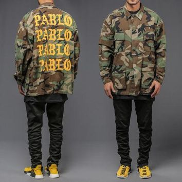 AUGUAU CAMOUFLAGE I FEEL LIKE PABLO ARMY CAMO JACKET military tlop west
