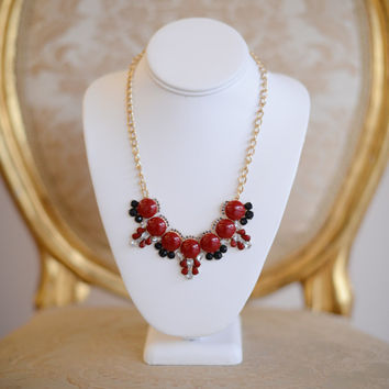Rhinestone Studded Bubble Necklace Red