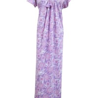 Womans Kaftan Designer Purple Floral Printed Long Maxi Knit Gown Dress Nighty Large