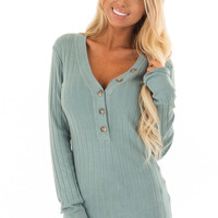 Dark Sage Ribbed Long Sleeve Top with Button V Neckline