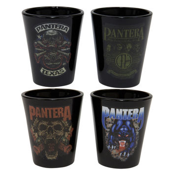 Pantera - Logos Group Shot Glasses 4 Pack Set