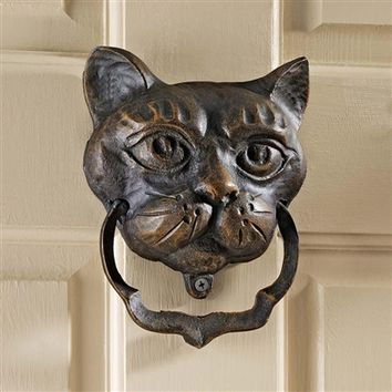 SheilaShrubs.com: Black Cat Iron Door Knocker QH10572 by Design Toscano: Door Knockers