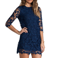 Blue Long Sleeve Crochet Lace Backless Dress - Sheinside.com