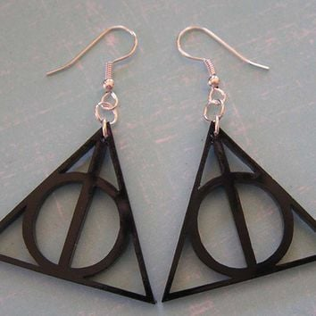 Deathly Hallows Harry Potter Earrings Black by everlastingdoodle
