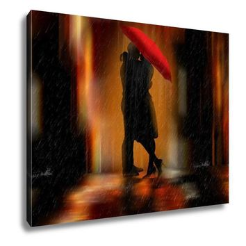 Gallery Wrapped Canvas, Downtown Fantasy Love And Romance Greeting Card Or Wall Art Illustration