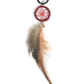 Dreamcatcher Feather Necklace Red Wood Beaded NL04 Black Faux Leather Ethnic Native Fashion Jewelry