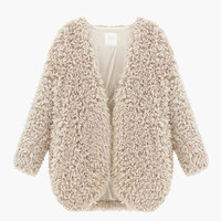 V-Neck Faux Fur Sweater