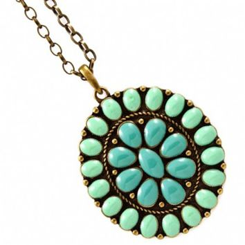Edie's 24 Inch Oval Turquoise Stone Necklace - As Seen In All You Magazine