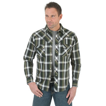 Wrangler Mens Western Jean Long Sleeve Snap Shirt Green/Black