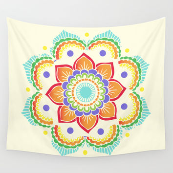 Colorful Mandala  Wall Tapestry by Ashley Hillman
