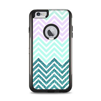 The Light Teal & Purple Sharp Glitter Print Chevron Apple iPhone 6 Plus Otterbox Commuter Case Skin Set
