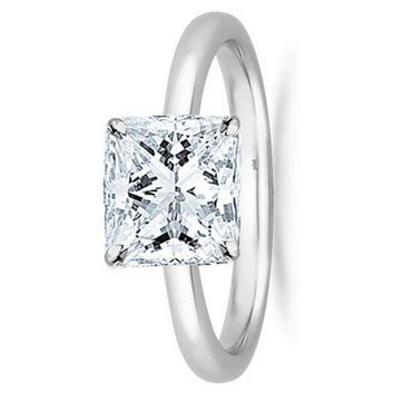 1/2 - 2 Carat GIA Certified Platinum Solitaire Princess Cut Diamond Engagement Ring (G-H Color, VS1-VS2 Clarity)