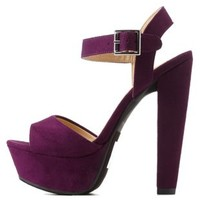 Purple Platform Chunky Heel Sandals by Charlotte Russe