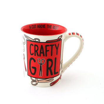 Crafty Girl mug for etsy shop owner, maker, knitter, artist, designer, sewing, mixed media artist, red with scissors