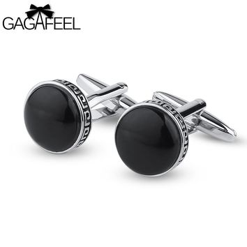 GAGAFEEL Men's Cuff Links Male Jewelry Cat's Eye Stone Round Sharp For Shirts Tie Clip Black Color Copper Metal Gift