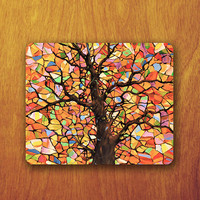 Tree Colorful Painting Mousepad Beautiful Abstract Computer Desk Deco Office Fabric Soft Rubber Pad personalised gifts Custom mouse pad