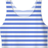 Retro girls crop tops tee shirt, horizontal marine stripes pattern, white and light blue