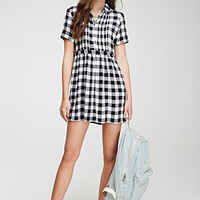 Pintucked Gingham Dress