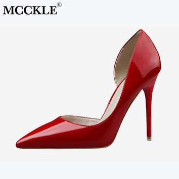 Side Hollow Pointed Toe Patent Leather Stilettos Thin Heel Pumps