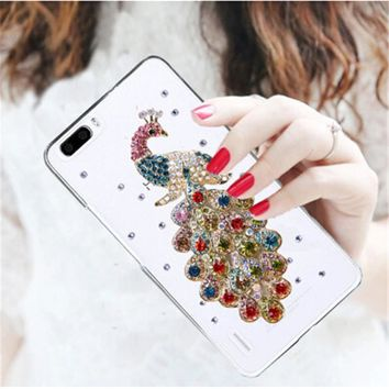 Luxury 3D Peacock Bird bling Crystal diamond Mobile phone Shell Back Cover Skin Hard Case For Huawei Honor 4X Case