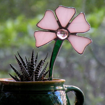 White Flower Stained Glass Garden Stake - Ornament, Table Decorations for Birthday or Shower