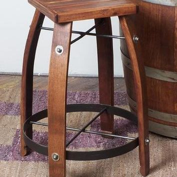 "Wine Barrel Bar Stool 24"" Stave Stool W/ Wood Top by 2 day designs 818W24"