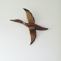Vintage Mid Century Modern Bird Wall Hanging . Flying Geese . Wood and Brass Bird . Bird Art . Bird Wall Hanging . Wooden Goose
