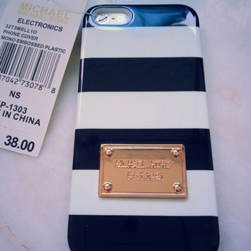 Michael Kors White & Black Strips Iphone 5/5 S Case