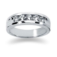 0.5 ctw. Men's Round  Diamond Wedding Band in 14K White Gold