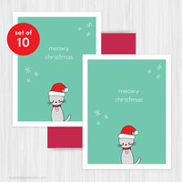 Christmas Card Set Holiday Cards Cute Handmade Greeting Funny Pun Santa Cat Meowy Xmas Fun Happy Holidays Holiday Card Boxed Set Pack